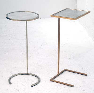round and square antique mirror cigar tables