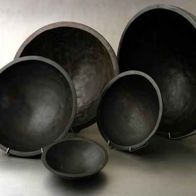 bowls, ebonized